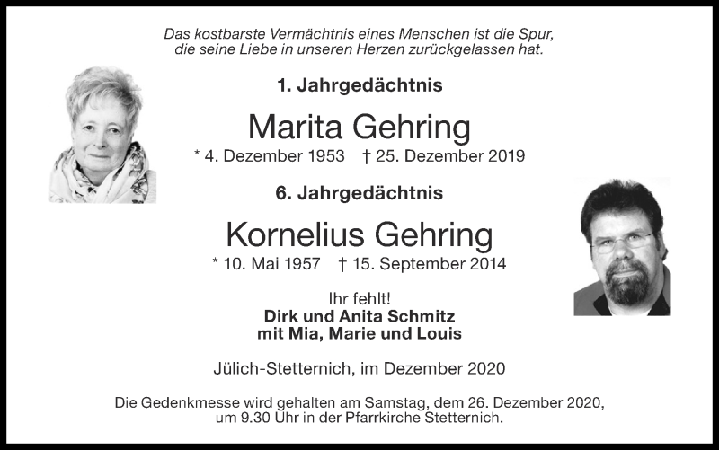 Traueranzeige für Kornelius Gehring vom 20.12.2020 aus Zeitung am Sonntag