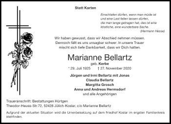 Traueranzeige von Marianne Bellartz von Aachener Zeitung / Aachener Nachrichten