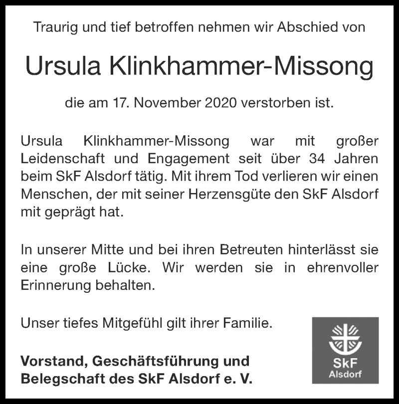 Traueranzeige für Ursula Klinkhammer-Missong vom 06.12.2020 aus Zeitung am Sonntag