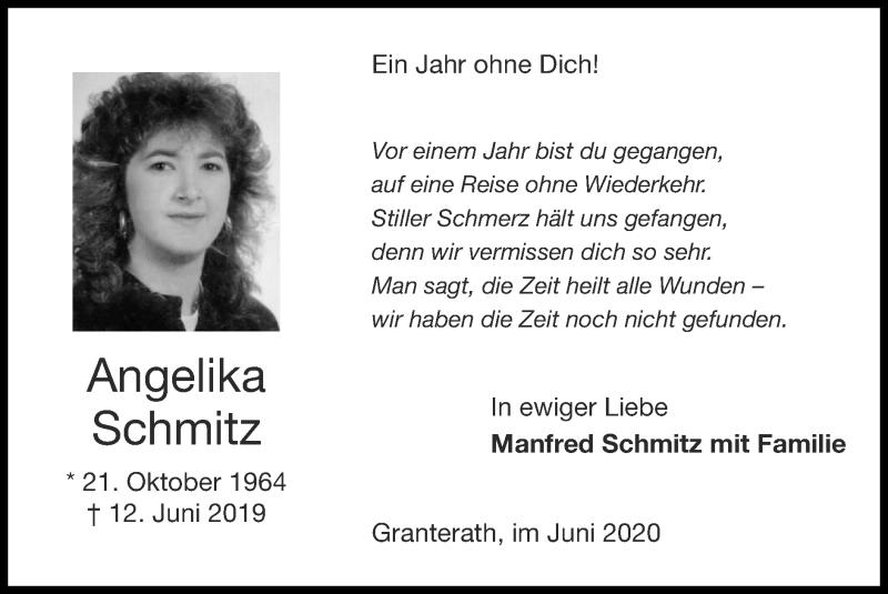 Traueranzeige für Angelika Schmitz vom 07.06.2020 aus Zeitung am Sonntag