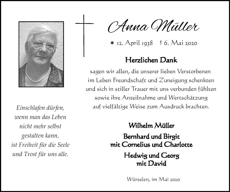 Traueranzeige für Anna Müller vom 31.05.2020 aus Zeitung am Sonntag