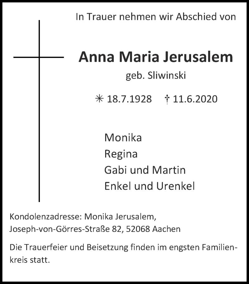 Traueranzeige für Anna Maria Jerusalem vom 28.06.2020 aus Zeitung am Sonntag