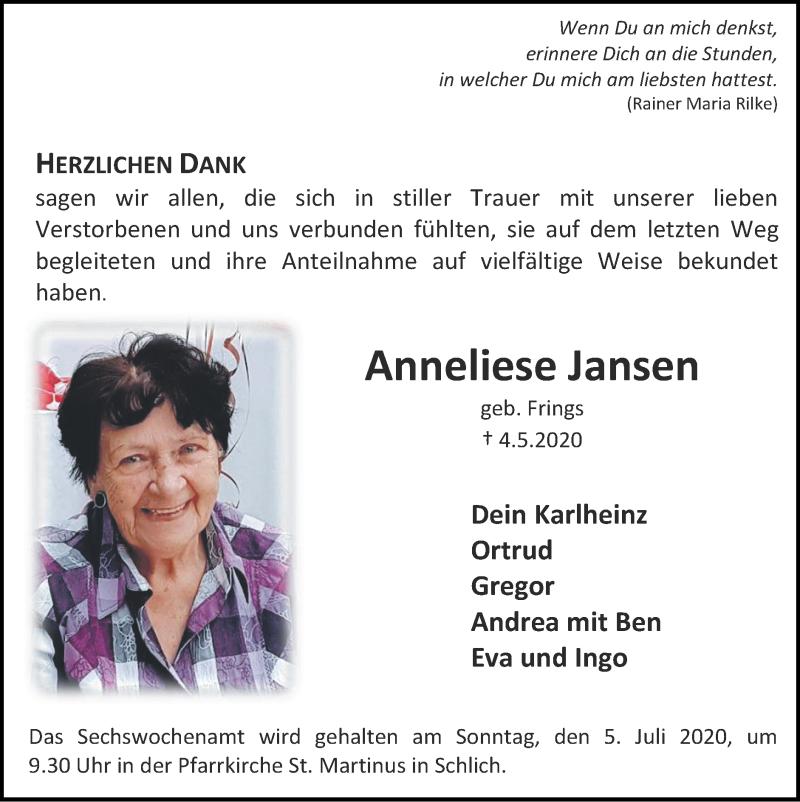 Traueranzeige für Anneliese Jansen vom 28.06.2020 aus Zeitung am Sonntag