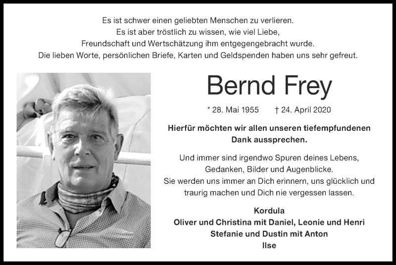 Traueranzeige für Bernd Frey vom 07.06.2020 aus Zeitung am Sonntag