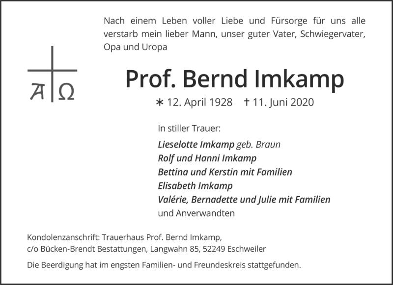 Traueranzeige für Bernd Imkamp vom 20.06.2020 aus Aachener Zeitung / Aachener Nachrichten