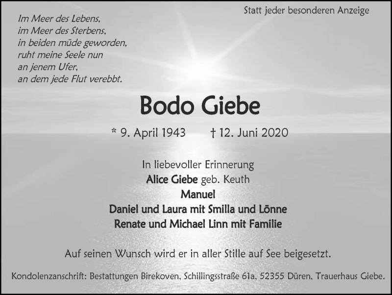 Traueranzeige für Bodo Giebe vom 21.06.2020 aus Zeitung am Sonntag