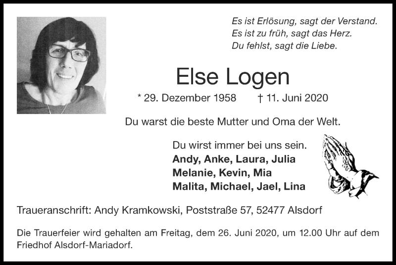 Traueranzeige für Else Logen vom 21.06.2020 aus Zeitung am Sonntag