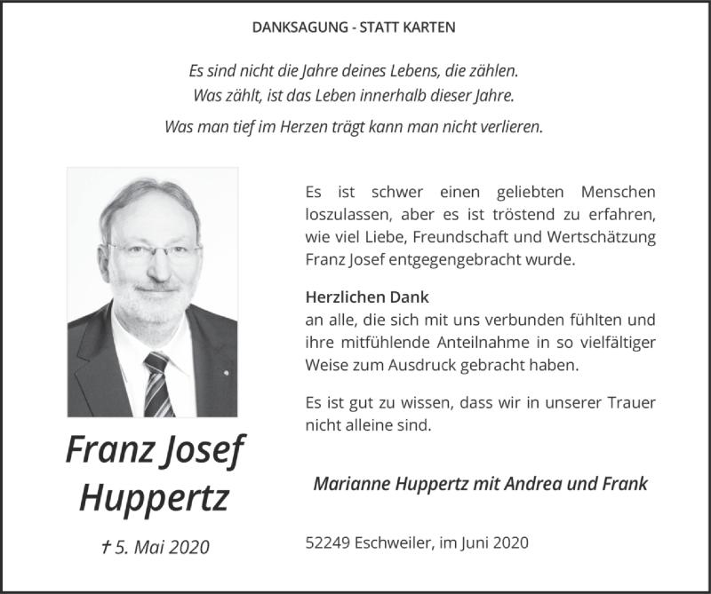 Traueranzeige für Franz Josef Huppertz vom 14.06.2020 aus Zeitung am Sonntag