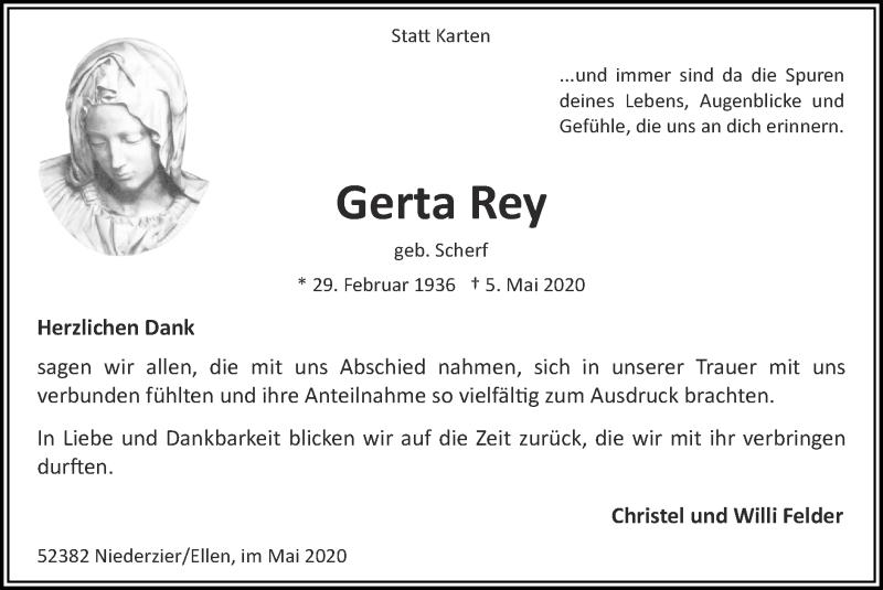 Traueranzeige für Gerta Rey vom 31.05.2020 aus Zeitung am Sonntag