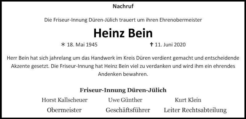 Traueranzeige für Heinz Bein vom 28.06.2020 aus Zeitung am Sonntag