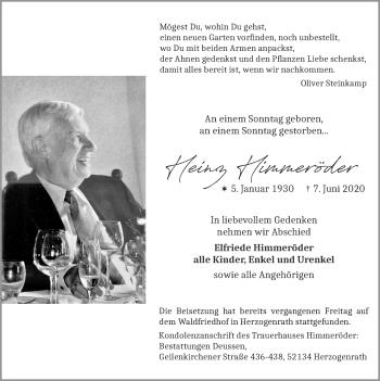 Traueranzeige von Heinz Himmeröder von Zeitung am Sonntag