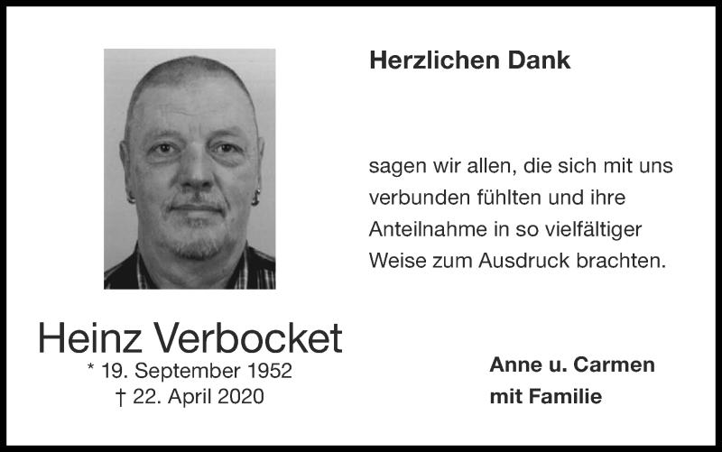 Traueranzeige für Heinz Verbocket vom 07.06.2020 aus Zeitung am Sonntag