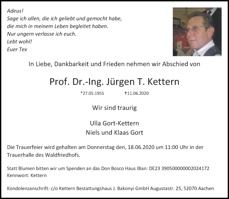 Traueranzeige für Jürgen T. Kettern vom 16.06.2020 aus Aachener Zeitung / Aachener Nachrichten