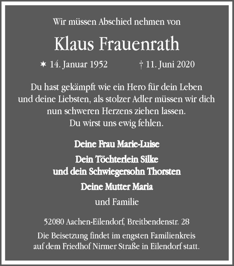 Traueranzeige für Klaus Frauenrath vom 21.06.2020 aus Zeitung am Sonntag