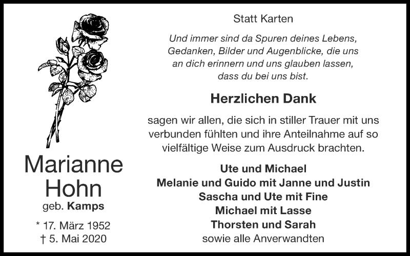 Traueranzeige für Marianne Hohn vom 21.06.2020 aus Zeitung am Sonntag