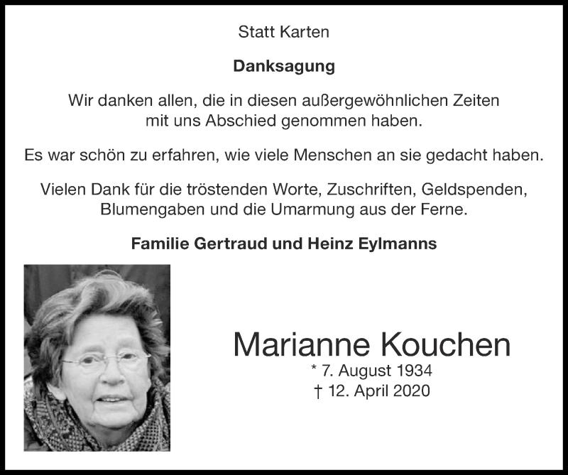 Traueranzeige für Marianne Kouchen vom 31.05.2020 aus Zeitung am Sonntag