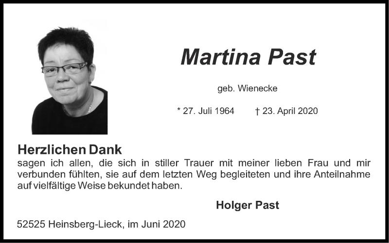 Traueranzeige für Martina Past vom 07.06.2020 aus Zeitung am Sonntag
