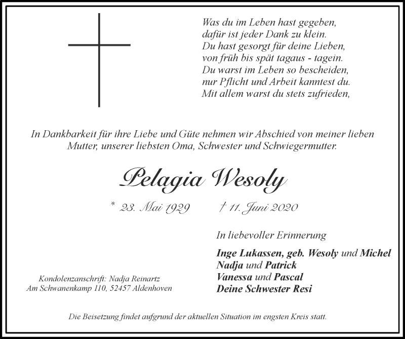 Traueranzeige für Pelagia Wesoly vom 21.06.2020 aus Zeitung am Sonntag