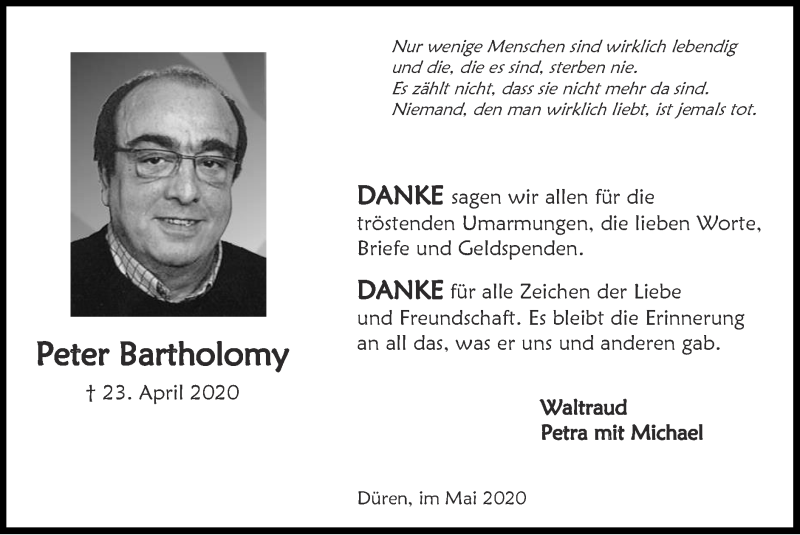 Traueranzeige für Peter Bartholomy vom 31.05.2020 aus Zeitung am Sonntag