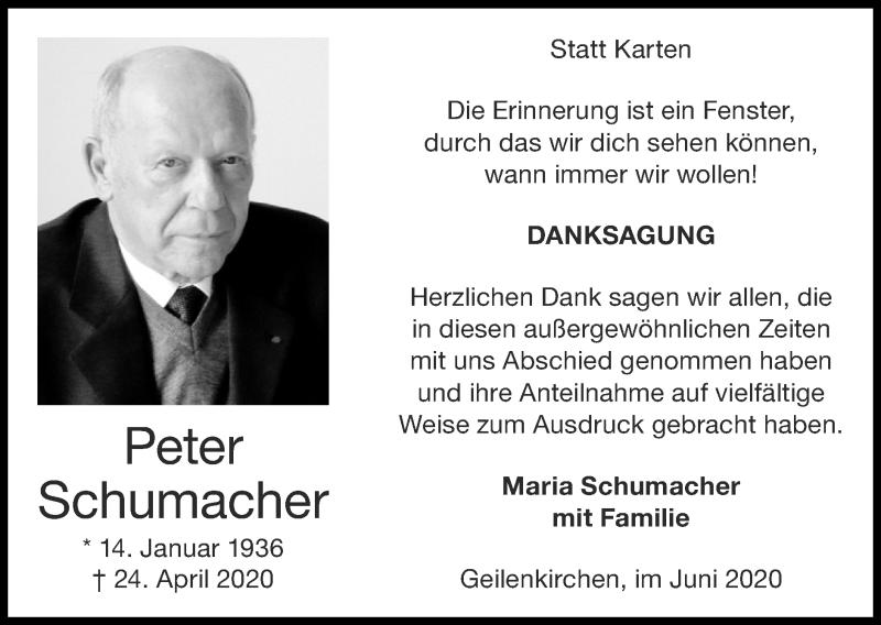 Traueranzeige für Peter Schumacher vom 07.06.2020 aus Zeitung am Sonntag