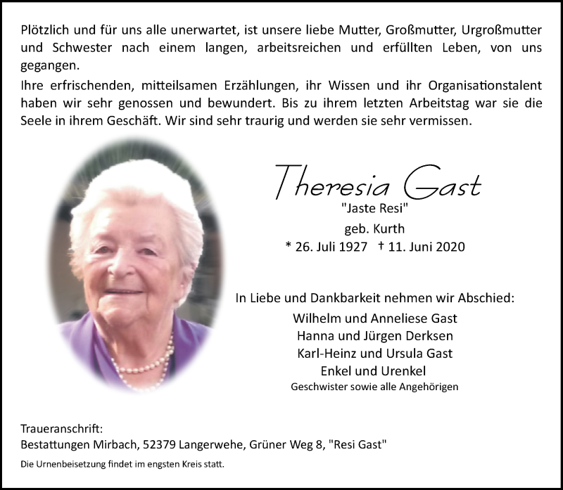 Traueranzeige für Theresia Gast vom 20.06.2020 aus Aachener Zeitung / Aachener Nachrichten