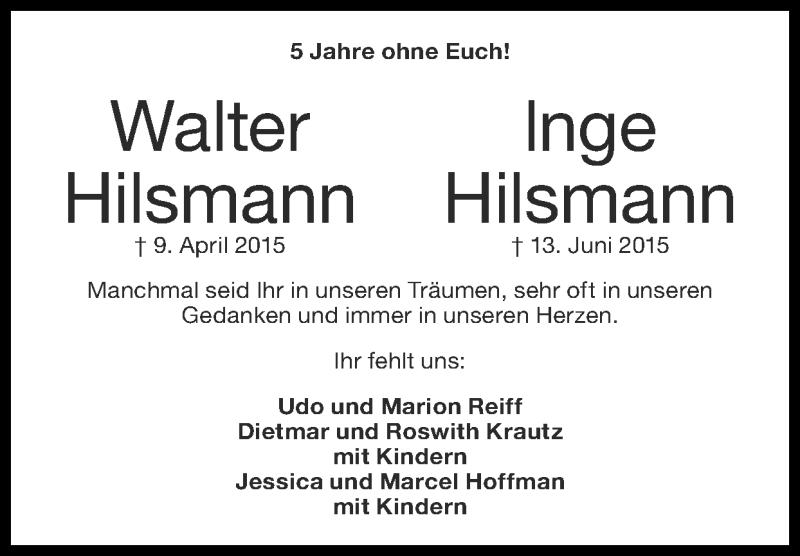 Traueranzeige für Walter Hilsmann vom 14.06.2020 aus Zeitung am Sonntag