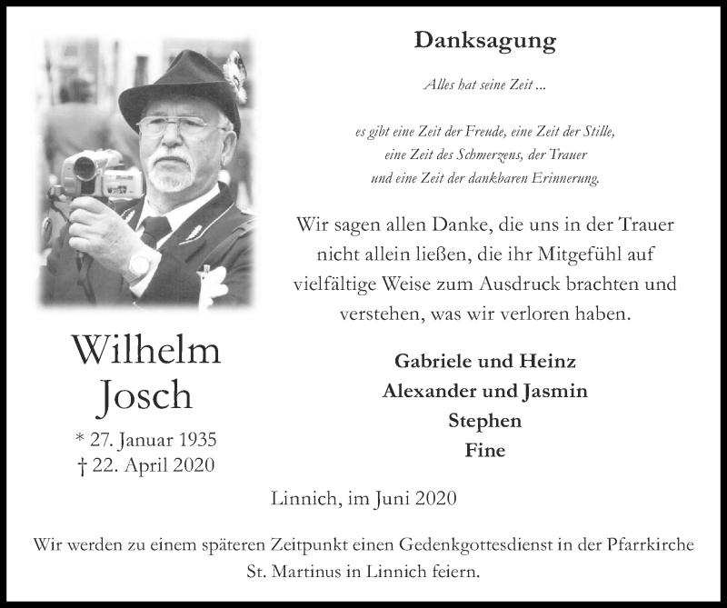 Traueranzeige für Wilhelm Josch vom 07.06.2020 aus Zeitung am Sonntag