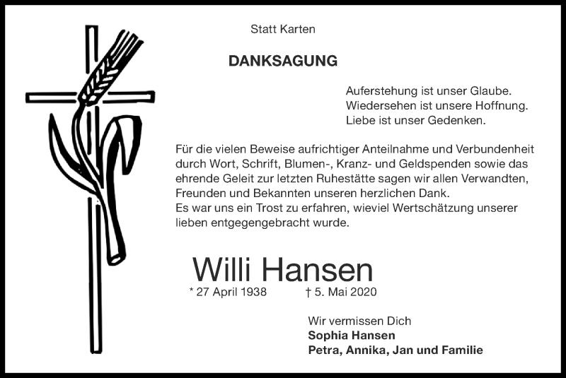 Traueranzeige für Willi Hansen vom 14.06.2020 aus Zeitung am Sonntag