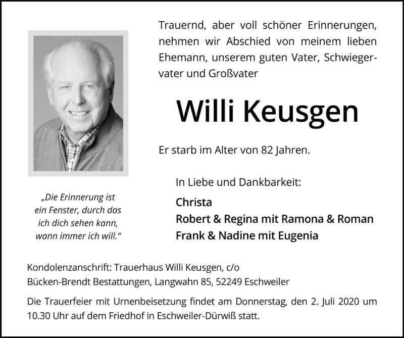 Traueranzeige für Willi Keusgen vom 28.06.2020 aus Zeitung am Sonntag