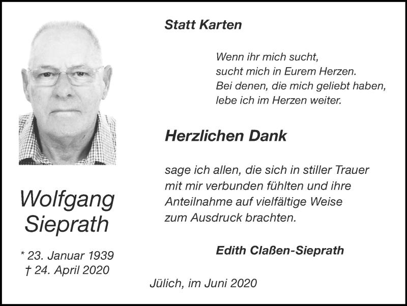 Traueranzeige für Wolfgang Sieprath vom 14.06.2020 aus Zeitung am Sonntag