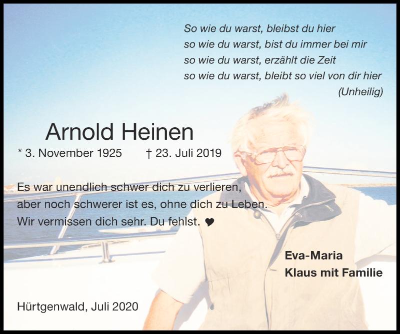 Traueranzeige für Arnold Heinen vom 19.07.2020 aus Zeitung am Sonntag