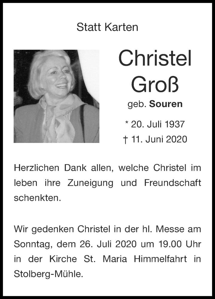 Traueranzeige für Christel Groß vom 19.07.2020 aus Zeitung am Sonntag