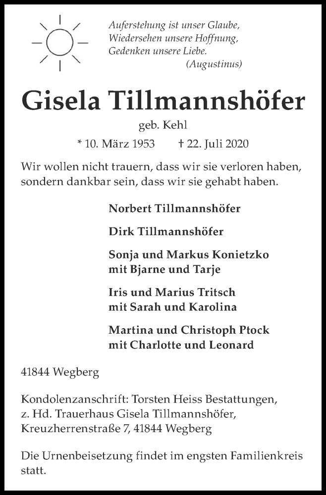 Traueranzeige für Gisela Tillmannshöfer vom 26.07.2020 aus Zeitung am Sonntag