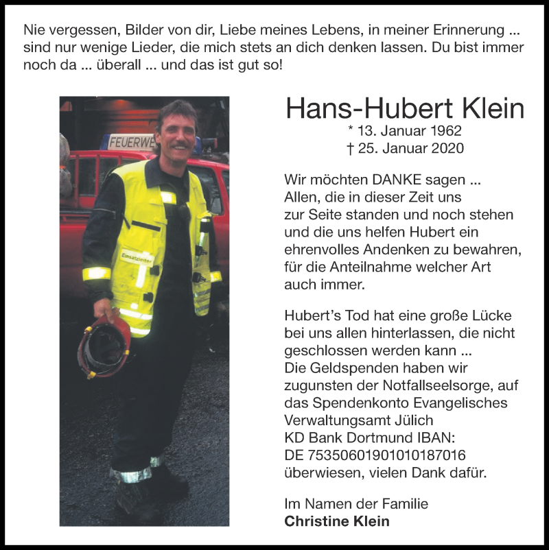 Traueranzeige für Hans-Hubert Klein vom 26.07.2020 aus Zeitung am Sonntag