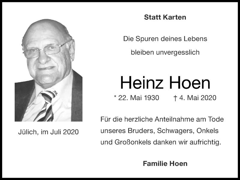 Traueranzeige für Heinz Hoen vom 26.07.2020 aus Zeitung am Sonntag