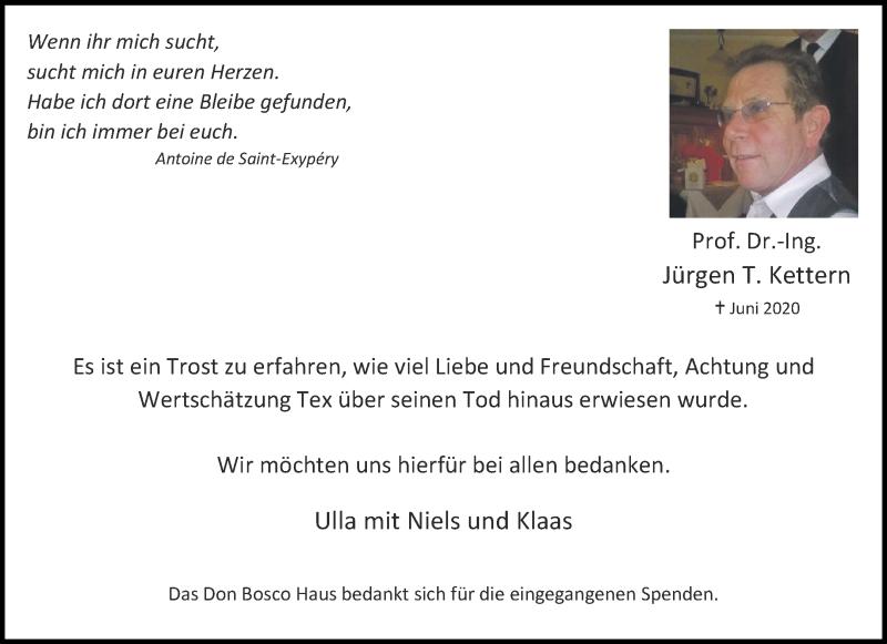 Traueranzeige für Jürgen T. Kettern vom 23.07.2020 aus Aachener Zeitung / Aachener Nachrichten