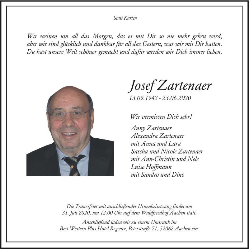 Traueranzeige für JOsef Zartenaer vom 05.07.2020 aus Zeitung am Sonntag