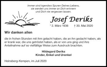 Traueranzeige von Josef Deriks von Zeitung am Sonntag
