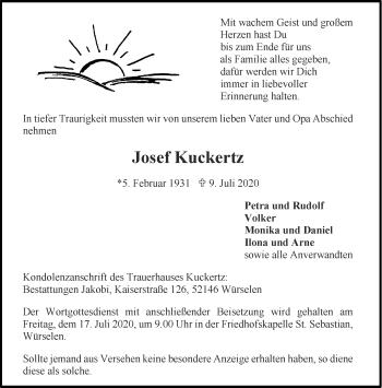 Traueranzeige von Josef Kuckertz von Aachener Zeitung / Aachener Nachrichten