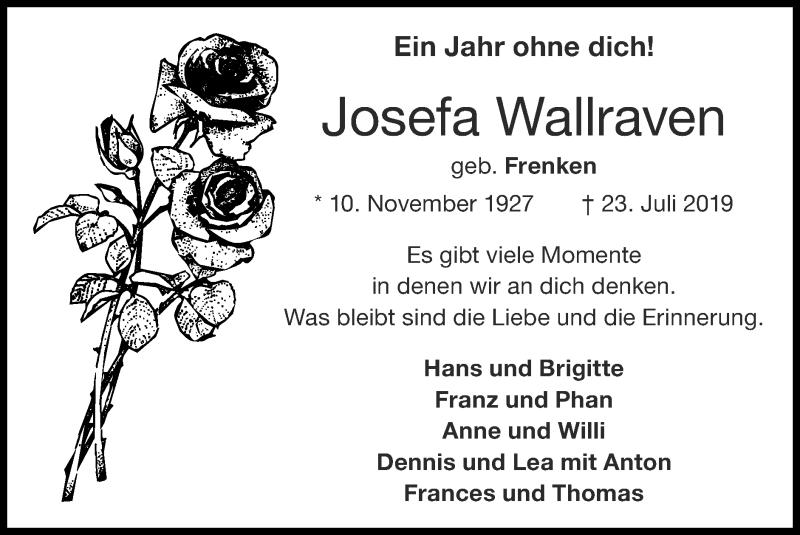 Traueranzeige für Josefa Wallrauen vom 19.07.2020 aus Zeitung am Sonntag