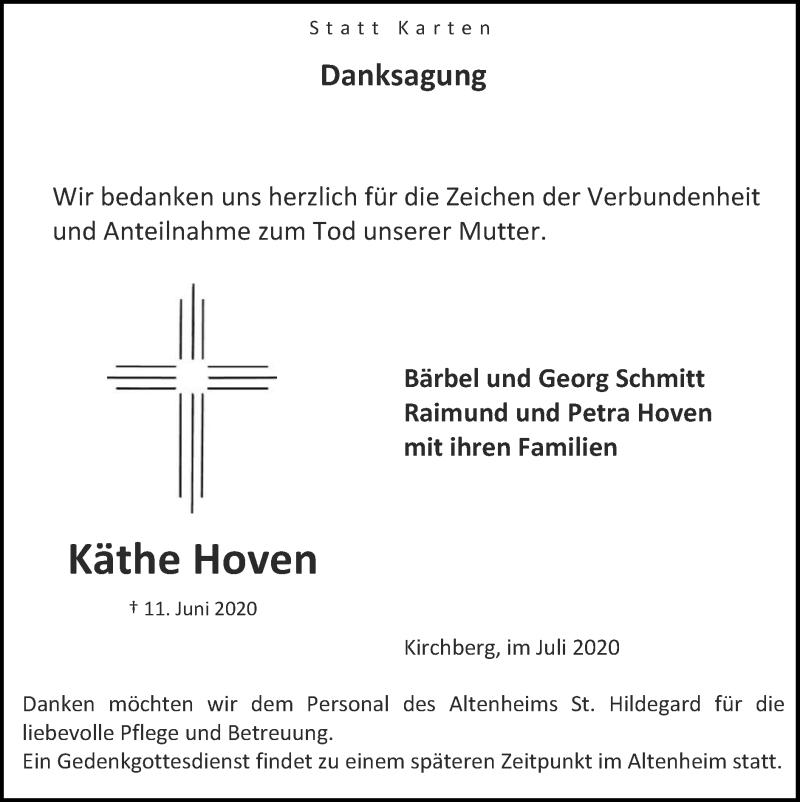 Traueranzeige für Käthe Hoven vom 05.07.2020 aus Zeitung am Sonntag