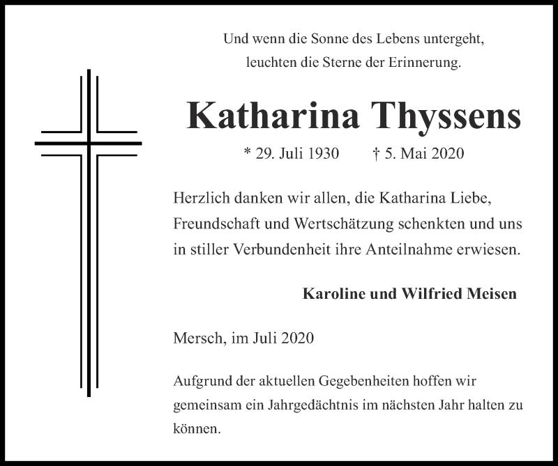 Traueranzeige für Katharina Thyssens vom 19.07.2020 aus Zeitung am Sonntag