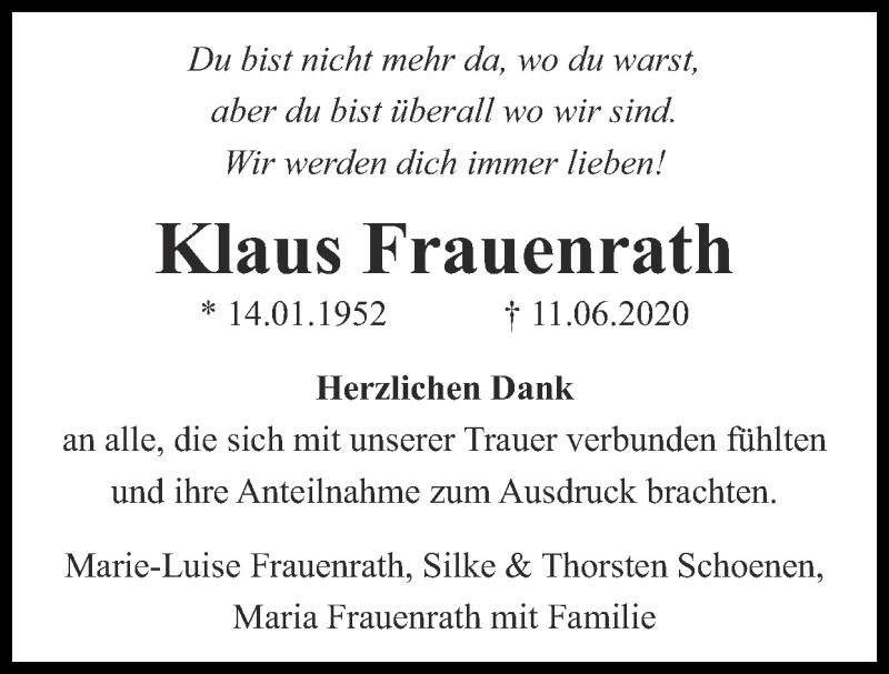 Traueranzeige für Klaus Frauenrath vom 05.07.2020 aus Zeitung am Sonntag