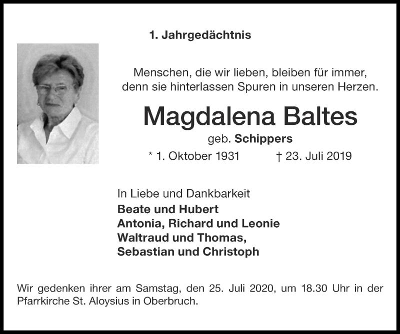 Traueranzeige für Magdalena Baltes vom 19.07.2020 aus Zeitung am Sonntag