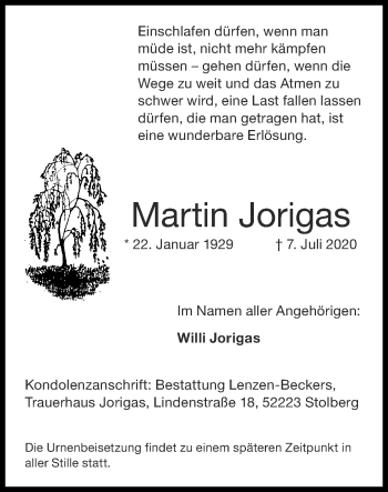 Traueranzeige von Martin Jorigas von Zeitung am Sonntag