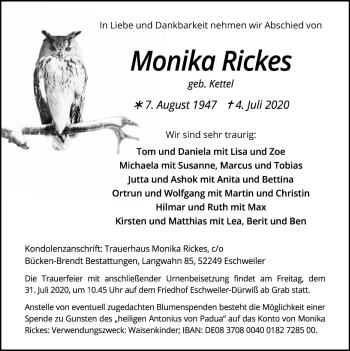 Traueranzeige von Monika Rickes von Zeitung am Sonntag