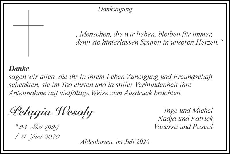 Traueranzeige für Pelagia Wesoly vom 26.07.2020 aus Zeitung am Sonntag
