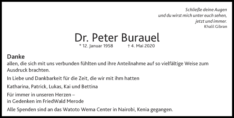 Traueranzeige für Peter Burauel vom 11.07.2020 aus Aachener Zeitung / Aachener Nachrichten