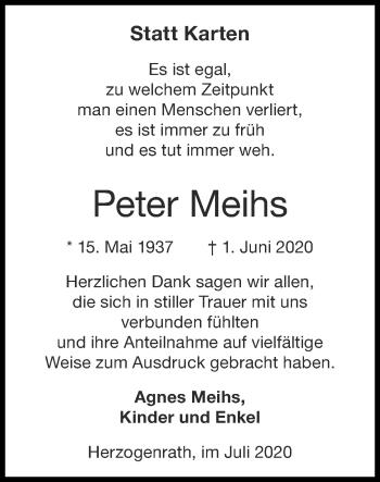 Traueranzeige von Peter Meihs von Zeitung am Sonntag