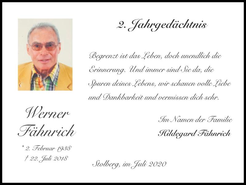 Traueranzeige für Werner Fähnrich vom 19.07.2020 aus Zeitung am Sonntag